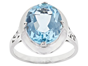 Pre-Owned Blue Topaz Rhodium Over Sterling Silver Ring 6.00ct