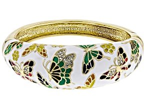 Pre-Owned White Crystal With Multi-Color Enamel Gold Tone Butterfly Cuff