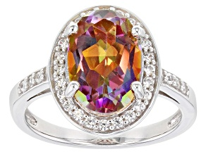 Pre-Owned Multicolor Northern Lights™ Quartz Rhodium Over Sterling Silver Ring 3.84ctw