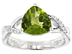 Pre-Owned Green Peridot Rhodium Over Silver Ring 2.61ctw