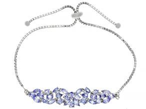 Pre-Owned Blue tanzanite rhodium over silver bolo bracelet 3.53ctw