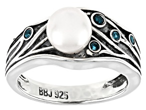Pre-Owned White Cultured Freshwater Pearl 7mm & London Blue Topaz Rhodium Over Sterling Silver Ring