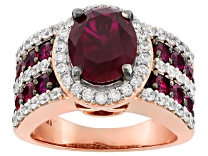 Pre-Owned Red Lab Created Ruby And White Cubic Zirconia 18k Rose Gold Over Silver Ring 5.63ctw