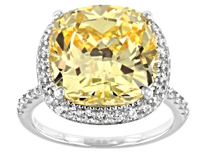 Pre-Owned Scintillant Yellow And White Cubic Zirconia Rhodium Over Sterling Silver Ring 17.45ctw