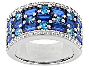 Pre-Owned Lab Created Blue Spinel, White And Blue Cubic Zirconia Rhodium Over Sterling Silver Ring 6