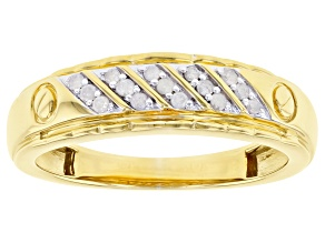 Pre-Owned White Diamond 14k Yellow Gold Over Sterling Silver Mens Band Ring