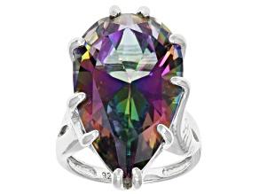 Pre-Owned  Multi Color Quartz Rhodium Over Silver Ring 17.00ctw