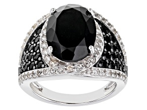 Pre-Owned Black Spinel Rhodium Over Sterling Silver Ring 8.05ctw