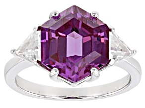 Pre-Owned Purple Lab Created Color Change Sapphire Rhodium Over Silver Ring 5.64ctw