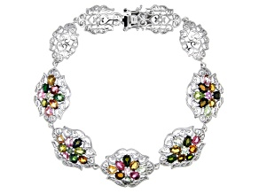 Pre-Owned Multicolor Tourmaline Rhodium Over Sterling Silver Bracelet 5.76ctw