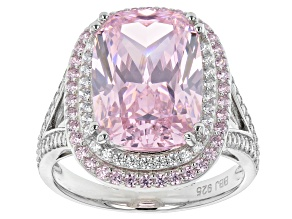 Pre-Owned Pink And White Cubic Zirconia Rhodium Over Sterling Silver Ring 13.85ctw