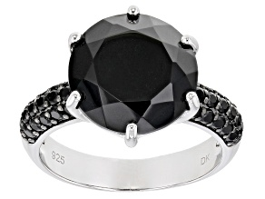 Pre-Owned Black Spinel Rhodium Over Silver Ring 6.84ctw