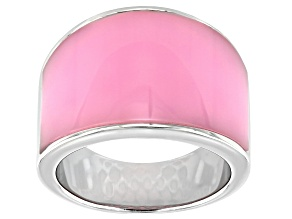 Pre-Owned Pink Lab Opal Rhodium Over Silver Band Ring
