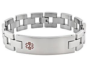 Pre-Owned Men's Stainless Steel Large Rectangular Plate Medical Id Bracelet