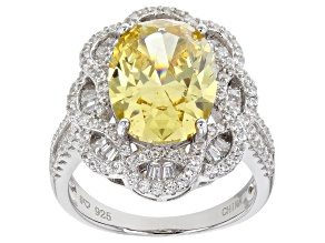Pre-Owned Yellow And White Cubic Zirconia Rhodium Over Sterling Silver Ring 11.76ctw