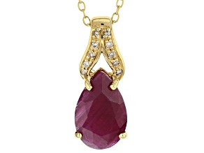 Pre-Owned Red Ruby 18k Gold OverSilver Pendant with Chain 3.44ctw