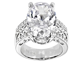 Pre-Owned White Cubic Zirconia Rhodium Over Sterling Silver Ring 18.30ctw
