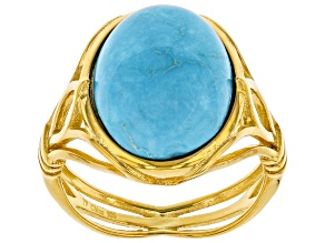 Pre-Owned Sleeping Beauty Turquoise 18k Yellow Gold Over Silver Ring