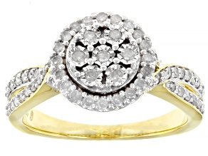 Pre-Owned White Diamond 14k Yellow Gold Over Sterling Silver Cluster Ring 0.50ctw