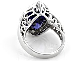 Pre-Owned Blue Cubic Zirconia Rhodium Over Sterling Silver Ring 18.00ctw