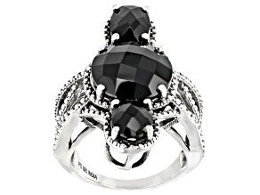 Pre-Owned Black Spinel Sterling Silver Ring 9.50ctw
