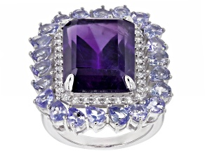Pre-Owned Purple Amethyst Rhodium Over Sterling Silver Ring 15.28ctw