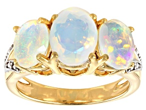 Pre-Owned Multicolor Ethiopian opal 18k yellow gold over silver 3-stone ring 2.58ctw