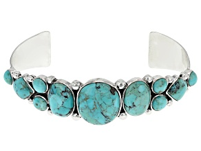 Pre-Owned Southwest Style By Jtv™ Mixed Shapes Cabochon Turquoise Sterling Silver Cuff Bracelet