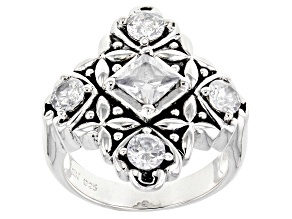 Pre-Owned White Cubic Zirconia Rhodium Over Sterling Silver Ring 2.86ctw