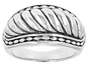 Pre-Owned Rhodium Over Sterling Silver Band Ring