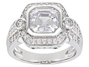Pre-Owned White Cubic Zirconia Rhodium Over Sterling Silver Asscher Cut Ring 4.45ctw