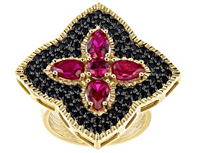 Pre-Owned Lab Created Ruby 18K Yellow Gold Over Silver Ring 4.45ctw