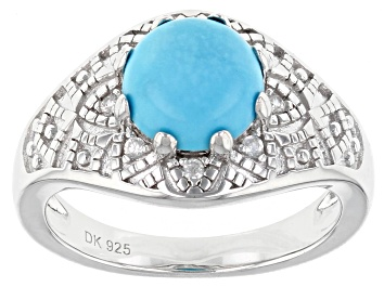 Picture of Pre-Owned Blue Sleeping Beauty Turquoise Rhodium Over Silver Ring .12ctw