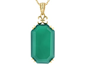 Pre-Owned Green Onyx 18k Gold Over Silver Pendant with Chain