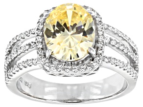 Pre-Owned Yellow and White Cubic Zirconia Rhodium Over Sterling Silver Ring 5.10ctw