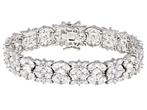 Pre-Owned White Cubic Zirconia Rhodium Over Sterling Silver Tennis Bracelet 32.88ctw