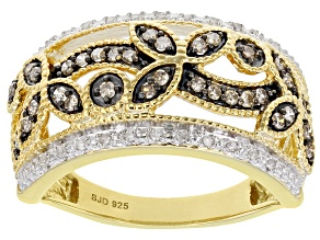 Pre-Owned Champagne And White Diamond 14k Yellow Gold Over Sterling Silver Band Ring 0.33ctw