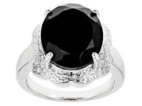 Pre-Owned Black Spinel Rhodium Over Silver Ring 9.35ct