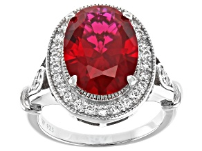 Pre-Owned Lab Created Ruby And White Cubic Zirconia Rhodium Over Sterling Silver Ring 6.74ctw