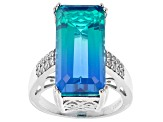 Pre-Owned Multi-Color Triplet Quartz Rhodium Over Sterling Silver Ring 12.22ctw