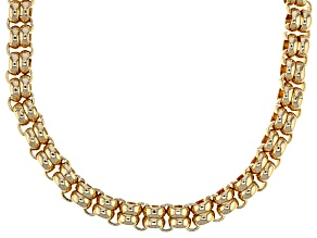 Pre-Owned White Crystal Gold Tone Double Rolo Chain Necklace