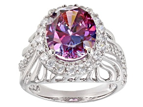 Pre-Owned Purple and White Cubic Zirconia Silver Ring 10.02ctw