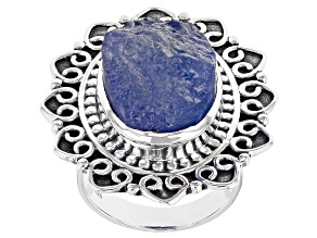 Pre-Owned Tanzanite Rough Sterling Silver Ring.