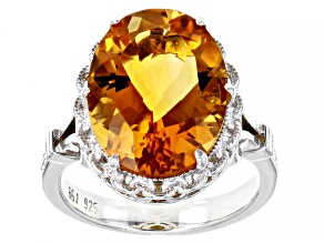 Pre-Owned Yellow Citrine Rhodium Over Sterling Silver Ring 6.74ct