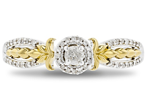 Pre-Owned Enchanted Disney Anna Ring White Diamond Rhodium And 14K Yellow Gold Over Silver 0.20ctw