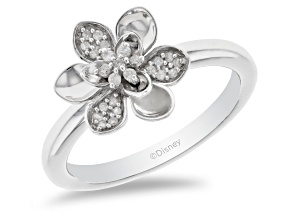 Pre-Owned Enchanted Disney Mulan Plum Blossom Ring White Diamond Rhodium Over Silver 0.10ctw
