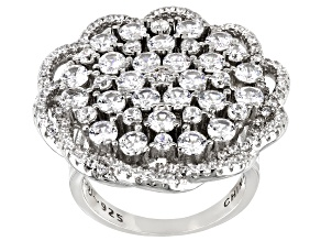 Pre-Owned White Cubic Zirconia Rhodium Over Sterling Silver Ring 6.10ctw