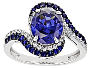 Pre-Owned Lab Created Blue Sapphire, Blue And White Cubic Zirconia Rhodium Over Sterling Silver Ring