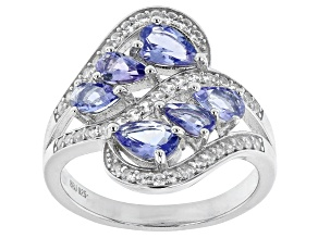 Pre-Owned Blue tanzanite rhodium over sterling silver ring 1.84ctw