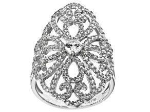 Pre-Owned White Cubic Zirconia Rhodium Over Sterling Silver Ring 2.30ctw